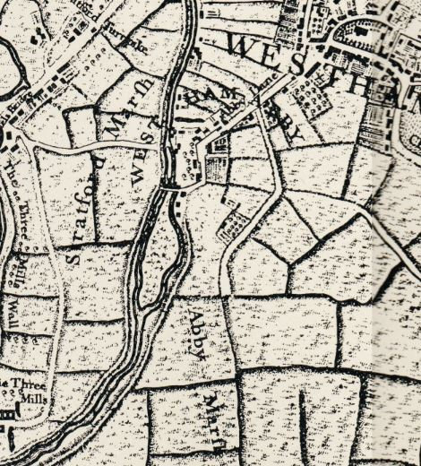 The area around West Ham from Rocque's map of 1746
