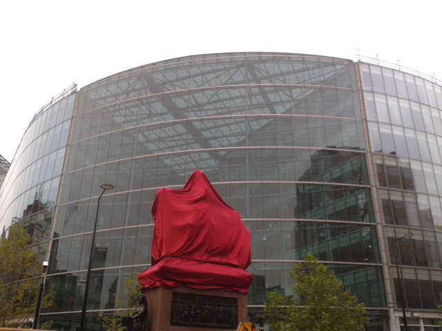 Prince Albert Statue awaiting unveiling in Holborn Circus