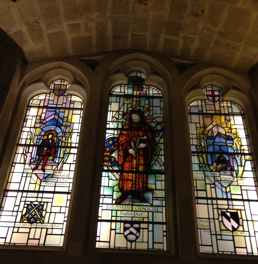 Chaucer depicted in the window of the East crypt of the Guildhall
