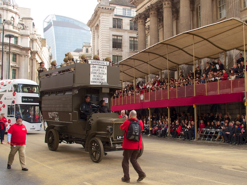 The WWI Battle Bus, a B-type London General Omnibus Company bus restored to how it would have looked on the front, from the London Transport Museum.