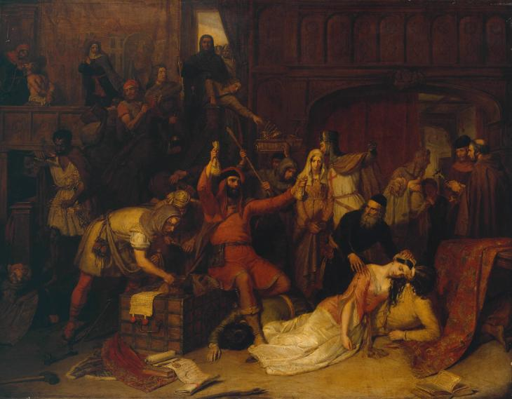 The Pillaging of a Jew's House in the Reign of Richard I exhibited 1839 Charles Landseer 1799-1879 Bequeathed by Jacob Bell 1859