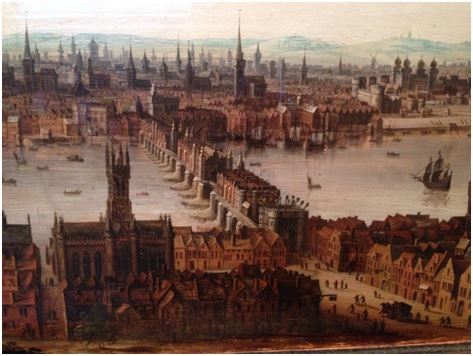 London from Southwark c1630.    Unknown Dutch school, unsigned.