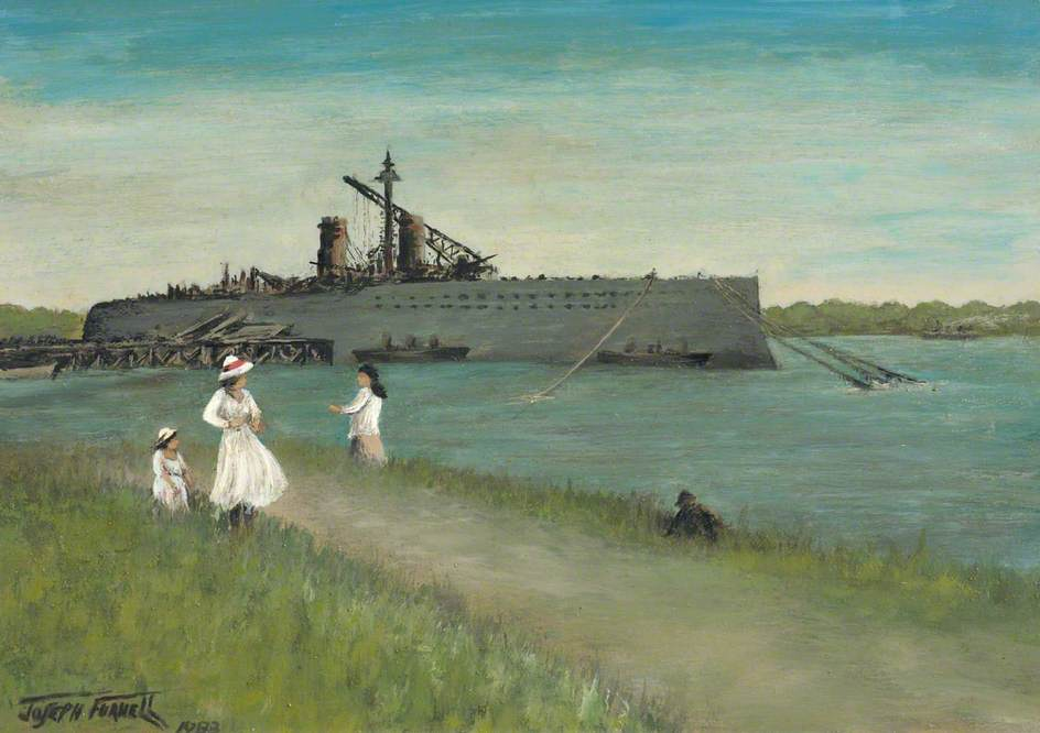 HMS Thunderer Fitting Out at Dagenham Dock by Joseph Furnell 1911 (c) Valence House Museum; Supplied by The Public Catalogue Foundation